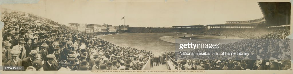 A panorama of a World Series game between the New York Giants and Boston Red Sox circa October 1912 at Fenway Park in Boston Massachusetts The game...