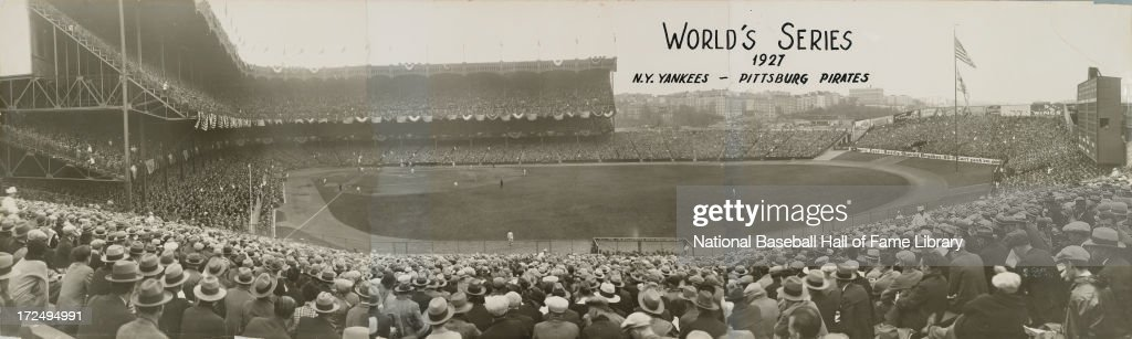 A panorama of a World Series game between the Pittsburgh Pirates and the New York Yankees circa October 1927 at Yankee Stadium in the Bronx borough of New York City.