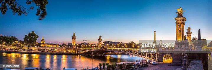 Panorama of Alexandre III bridge in Paris at sunset