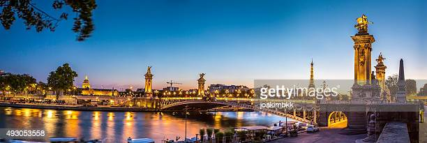 Panorama of Alexandre III bridge in Paris at sunset