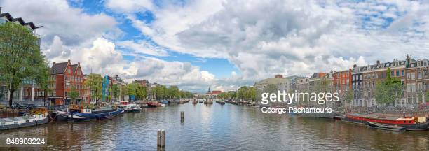 Panorama of Amstel river, Amsterdam, Netherlands