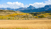 Panoramic autumn mountain valley view at the base of Mount Sneffels, 14,158-ft (4,315m), the highest peak in its namesake Sneffels Range of the San Juan Mountains, part of the Rocky Mountains of North
