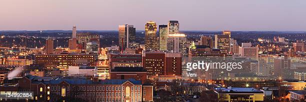 Panorama of Birmingham, Alabama illuminated at dusk