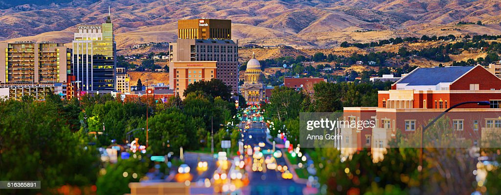 Panorama of Boise at dusk with tilt-shift effect