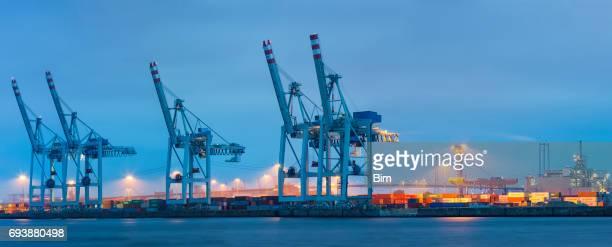 Panorama des Cargo-Terminal in der Abenddämmerung, Hamburger Hafen, Deutschland