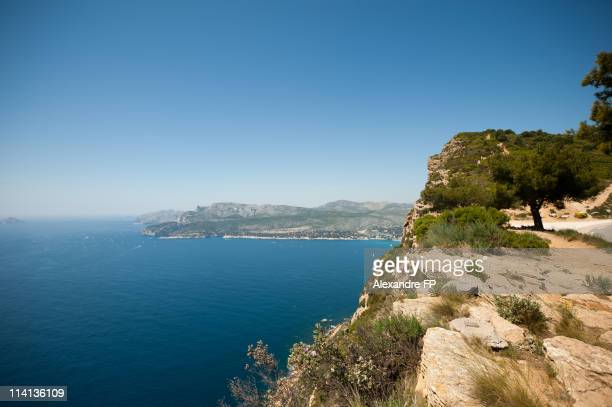 Panorama of cassis bay from la route