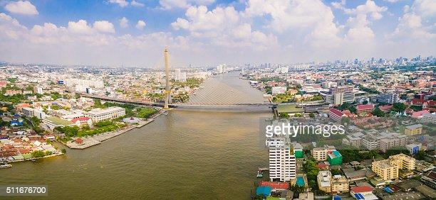 Panorama of Chao Phraya River in Bangkok, Thailand