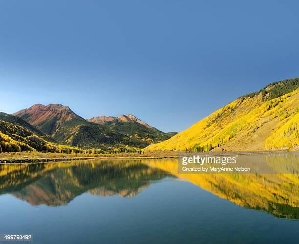 Panorama of Crystal Lake Blue and Yellow