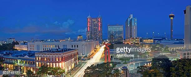 Panorama of downtown San Antonio at night
