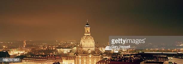 Panorama of Dresden City skyline at night