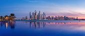 Panorama of Dubai Marina at sunset