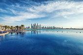 Panorama of Dubai Marina Skyline. United Arab Emirates