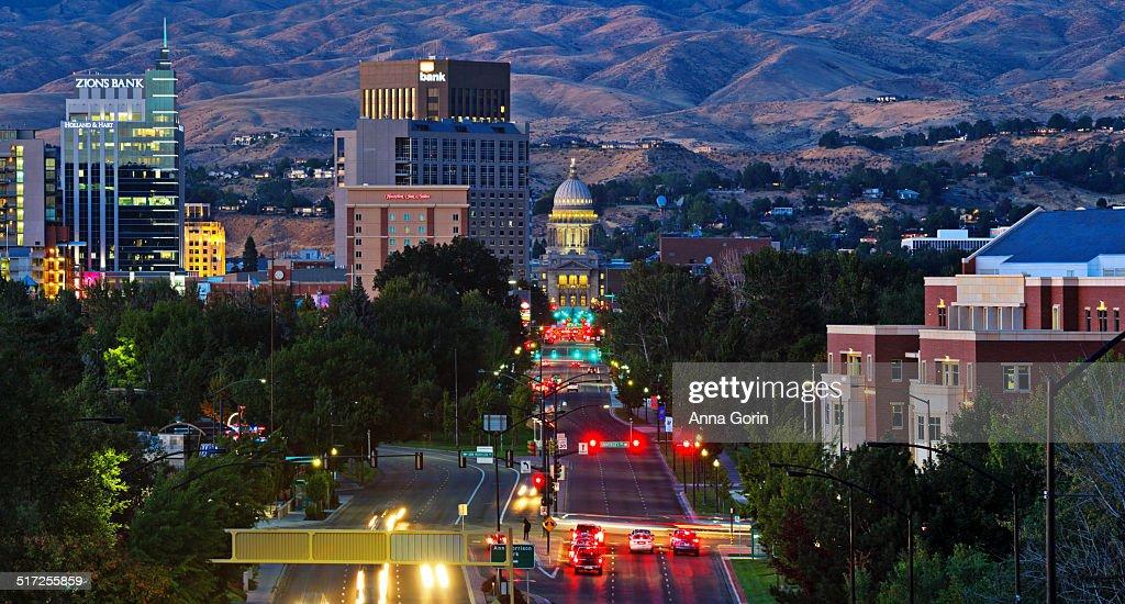 Panorama of dusk over Boise, Idaho skyline