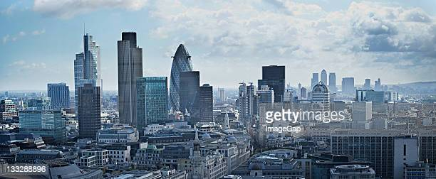 Panorama des financial Districts in London, England
