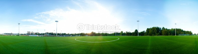 Panorama Of Football Field Stock Photo Thinkstock
