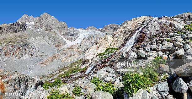 panorama de Glacier Blanc et de chutes d'eau dans les Alpes françaises
