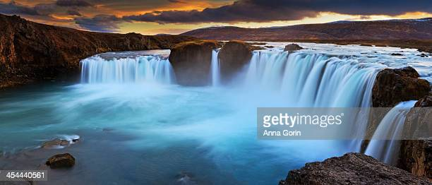 Panorama of Go?afoss waterfall at sunset