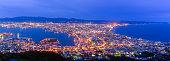 Panorama of Hakodate City view from Mountain Hakodate, winter season, Hokkaido, Japan