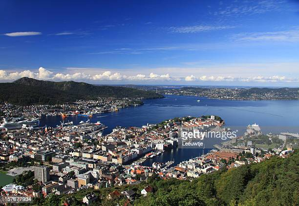 panorama of harbor and city Bergen Norway