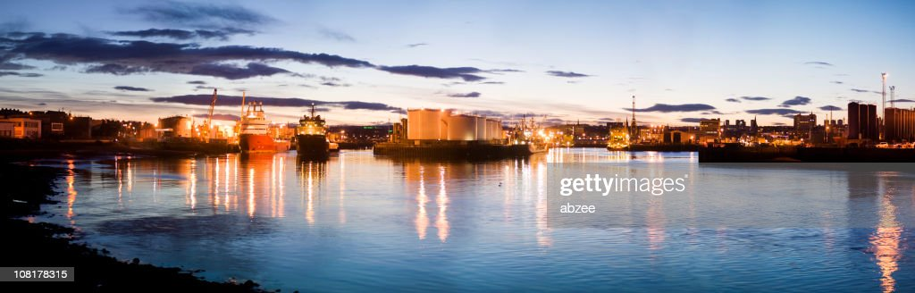Panorama of Harbour in Aberdeen, Scotland at Dusk