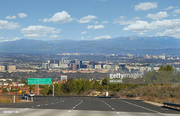 Panorama of highway and city of Orange County, California