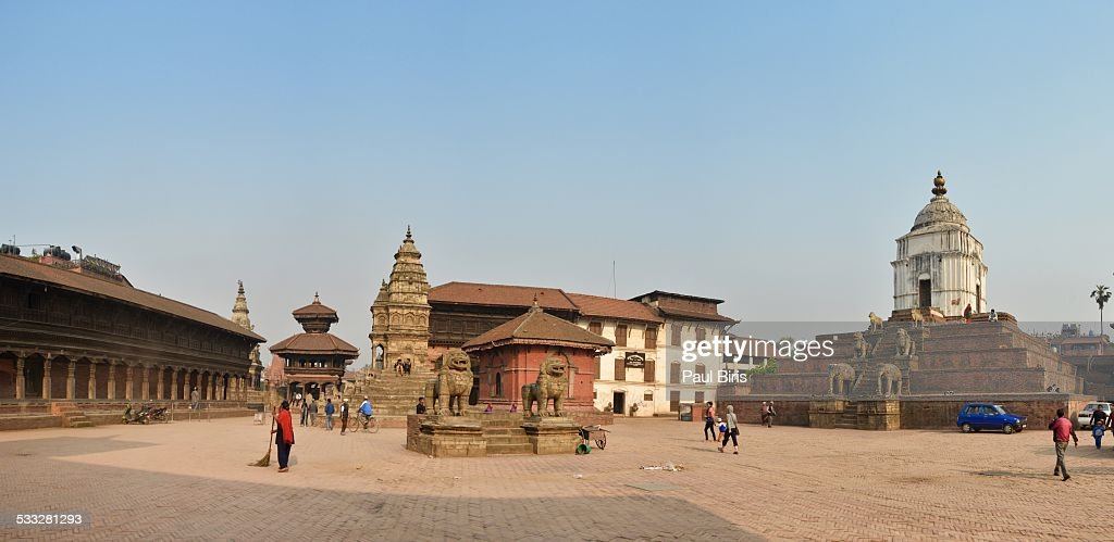 Panorama of historic Bhaktapur Durbar Square