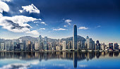 Panorama of Hong Kong island with reflections in the water