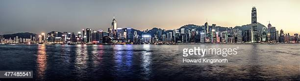panorama of Hong Kong skyline at sunset