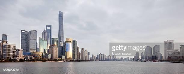 panorama of Huangpu river in Shanghai ( China )
