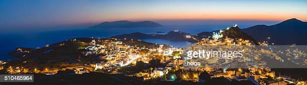 Panorama of Ios, Greece during twilight