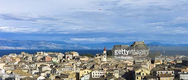Panorama of Kerkyra Corfu Town with Old Fort The Paleo Frourio in Corfu Ionian Islands Greece