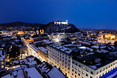 Panorama of Ljubljana during winter evening. Ljubljana, Slovenia