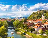 Cityscape of the Slovenian capital Ljubljana.