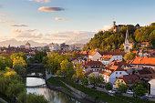 Cityscape of the Slovenian capital Ljubljana at sunset.
