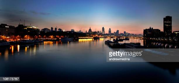 Panorama of London Skyline and River Thames at Sunrise