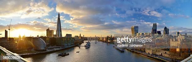 Panorama of London skyline at sunset