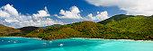 panorama of Maho Bay in Saint John, Virgin Islands