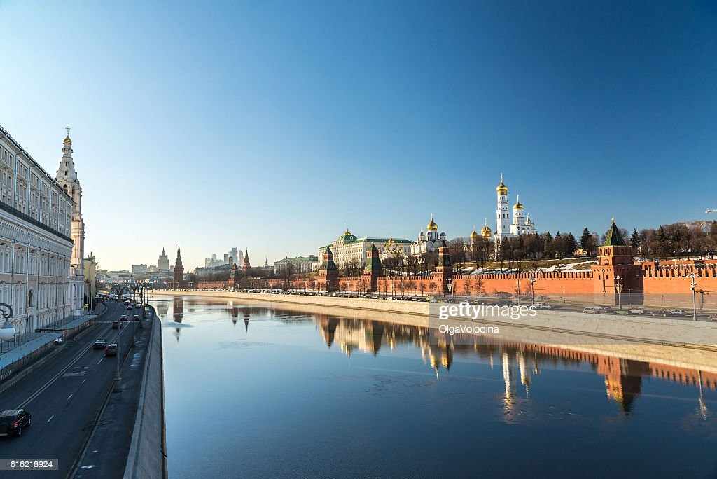 Panorama of  Moscow Kremlin and Sofiyskaya Embankment, Russia : Bildbanksbilder