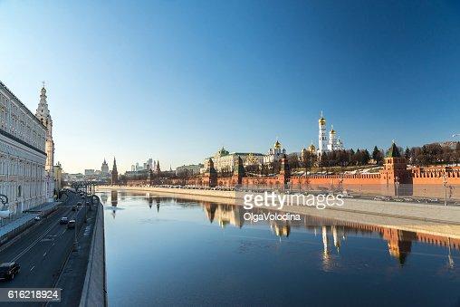 Panorama of  Moscow Kremlin and Sofiyskaya Embankment, Russia : Bildbanksbilder