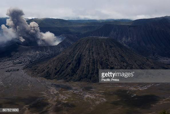 Panorama of Mount Bromo's smoke and volcanic material taken from Tosari district Pasuruan East Java The activity of Mount Bromo in the last 24 hours...