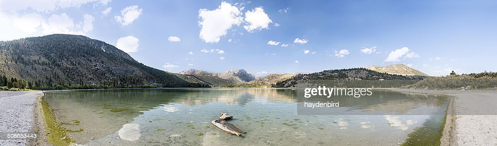 Panorama of Mountain lake scene with driftwood log in foreground : Stock Photo