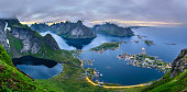 Panorama of  mountains and  Reine in Lofoten islands, Norway viewed from the Mt. Reinebringen after sunset