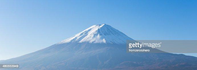 Panorama of Mt. Fuji view from Kawaguchi-ko lake. Yamanashi. Jap : Stock Photo
