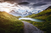 Panorama of Mt. Schreckhorn and Wetterhorn. Popular tourist attraction. Dramatic and picturesque scene. Location place Bachalpsee in Swiss alps, Bernese Oberland, Grindelwald, Europe. Beauty world.