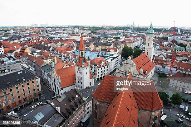 Panorama Of Munich As Seen From The Church Of St Peter Bell Tower Bavaria Germany