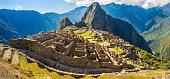 Panorama of Mysterious city - Machu Picchu, Peru,South America. The Incan ruins. Example of polygonal masonry and skill