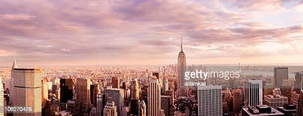 Panorama de la ciudad de Nueva York Skyline at Sunset