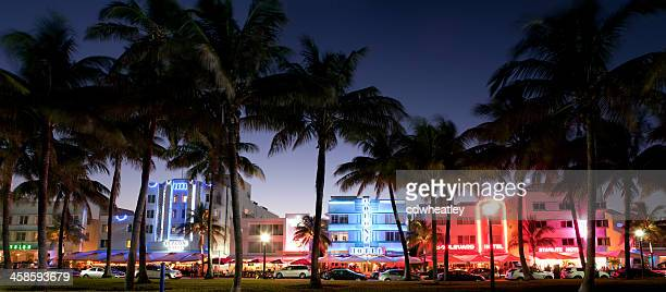 panorama of nightlife on Ocean Drive, South Beach, Miami, Florida
