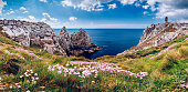 Panorama of Pointe du Pen-Hir with World War Two monument to the Bretons of Free France on the Crozon peninsula, Finistere department, Camaret-sur-Mer, Parc naturel regional d'Armorique. Brittany (Bre