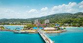 Panorama of port in Ocho Rios in Jamaica